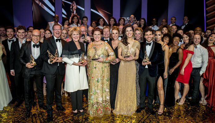 De winnaars tijdens de uitreiking van het Musical Awards Gala 2018.