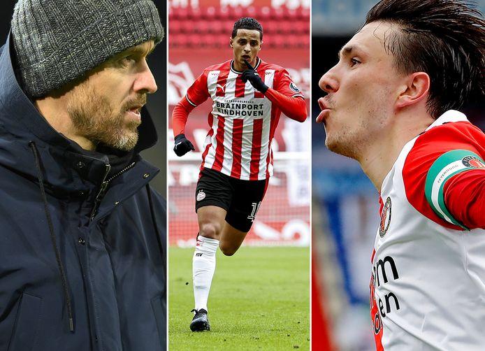 Vlnr: Erik ten Hag, Mo Ihattaren en Steven Berghuis.