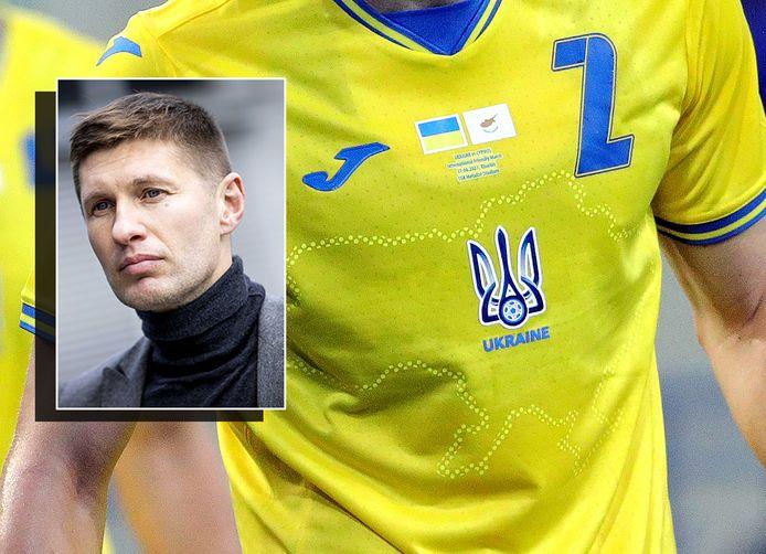 Het shirt van Oekraïne. Inzet: Jevgeni Levtsjenko.