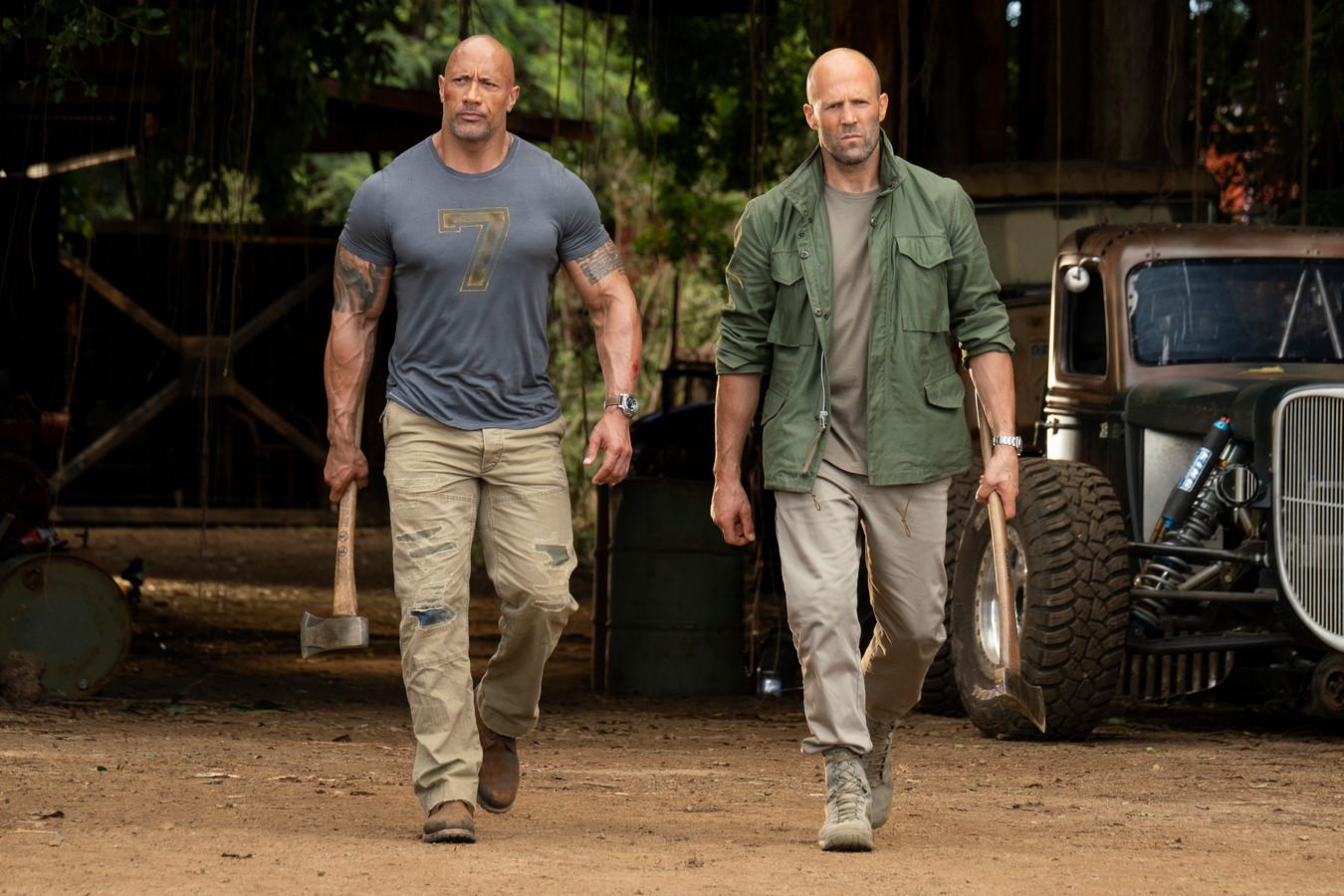Dwayne Johnson en Jason Statham in 'Fast & Furious Presents: Hobbs & Shaw'.