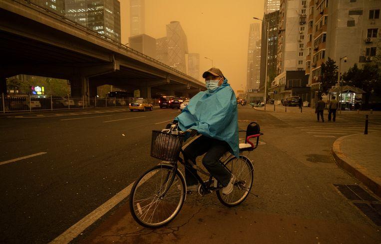 Het is zandstormseizoen in Beijing, 15 april 2021.  Beeld Getty Images