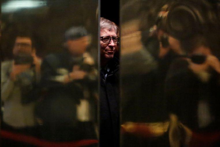 Bill Gates bij aankomst in de Trump Tower in New York in december 2016.