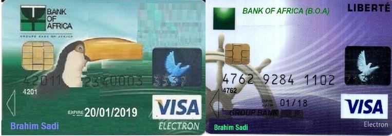 Twee creditcards op naam van 'Brahim Sadi'. Beeld