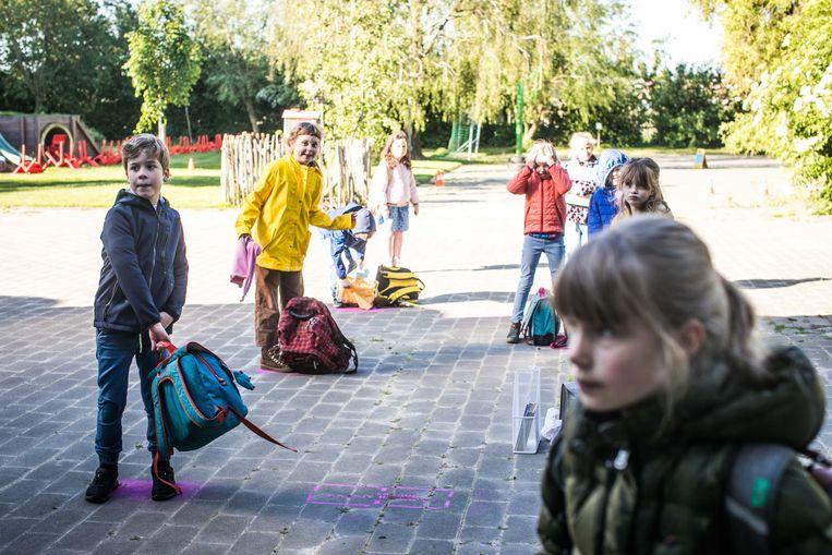 Heropstart van het tweede leerjaar in basisschool Klavertje 4 in Nevele. Beeld ID/ Bas Bogaerts