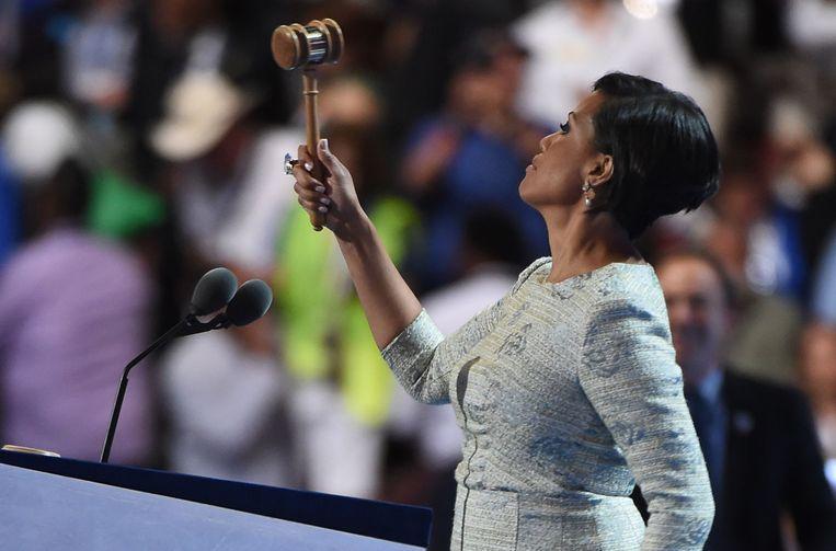 Burgemeester Stephanie Rawlings-Blake van Baltimore opent de Democratische conventie. Beeld afp