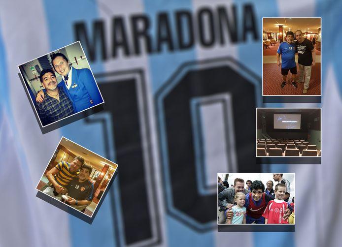 Fans op de foto met Diego Maradona.
