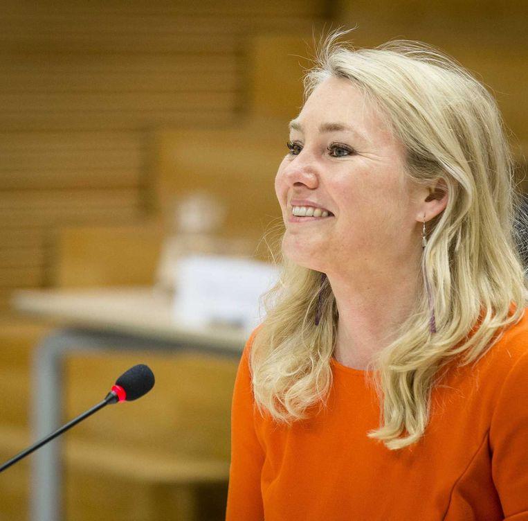 Minister Melanie Schultz van Infrastructuur en Milieu voor de parlementaire enquêtecommissie Fyra. Beeld anp