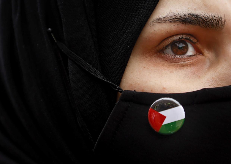 Deelnemers tijdens een Pro-Palestijns protest.