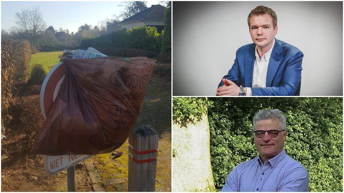 In de Danislaan hangen bewoners zelf vuilniszakken op omdat het zwerfvuil er rondslingert. Gemeenteraadslid Klaas Slootmans (Vlaams Belang) (boven) en schepen van Milieu Jos Savenberg (Open Vld) verschillen van mening over de aanpak.