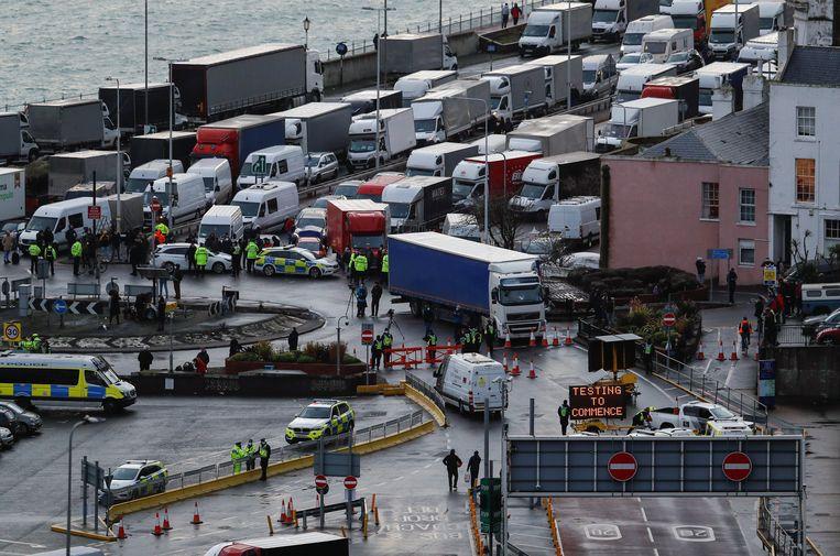 De haven van Dover op woensdag. Beeld Reuters