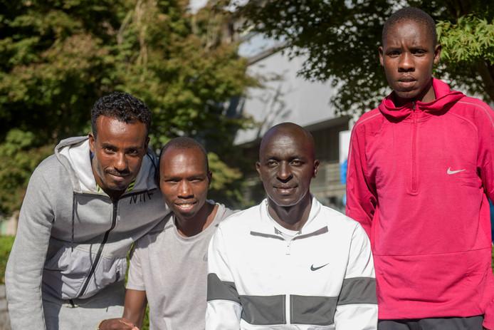 Belay Asefa, Elisha Rotich, Jacob Cheshari Korir en Vincent Rono (vlnr) gaan zondag strijden voor een toptijd en de winst in Eindhoven.