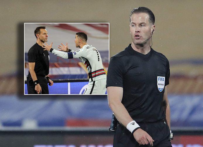 Danny Makkelie heeft grensrechter Mario Diks de wacht aangezegd. Inzet: Cristiano Ronaldo is woedend na de niet toegekende goal.