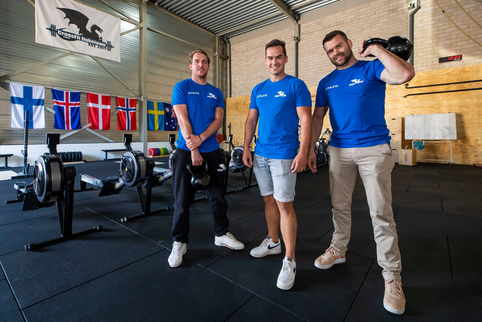 De drie eigenaren van de nieuwe sportschool in Empel vlnr. Mathijs Roosen, Rick Mertens, Koen van Meurs.
