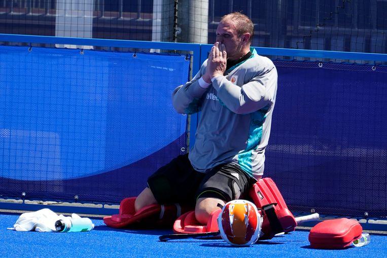 Goalie Pirmin Blaak (26) na de verloren partij tegen Australië. De Nederlandse hockeyers verloren na shoot-outs (2-2, 0-3). Beeld AP