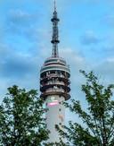 Projectie van Groenhuysen op de toren.
