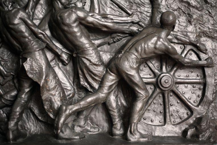 Fragment uit het 'Monument van de arbeid'. Beeld rv