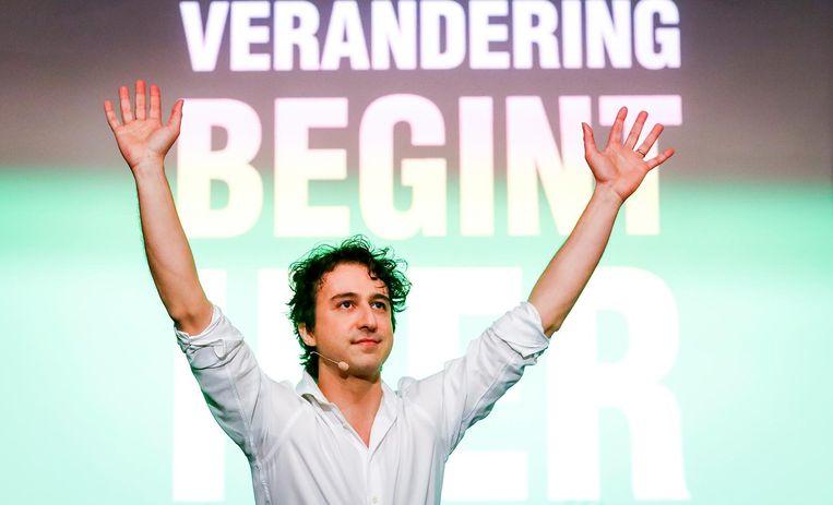 Jesse Klaver op de bijeenkomst van Groenlinks in Amsterdam Beeld ANP
