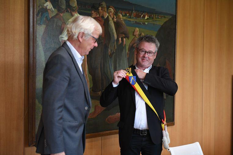 Kris Leaerts legde recent nog de eed af als burgemeester, met de Belgische driekleur.
