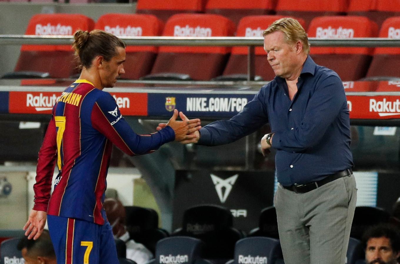Antoine Griezmann samen met Barcelona-trainer Ronald Koeman.