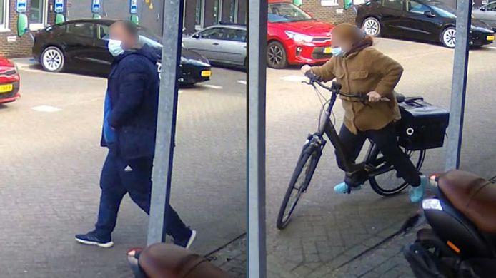 De vrouw gaat er met de fiets vandoor, de man loopt weg alsof er niks is gebeurd.