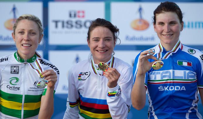 Elisa Longo Borghini greep in 2012 in Limburg al eens brons achter Marianne Vos.