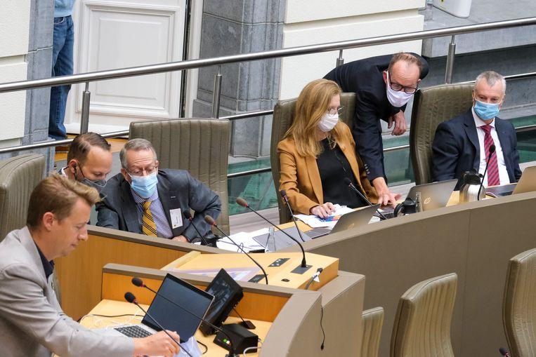 De onderzoekscommissie in het Vlaams Parlement. Beeld BELGA