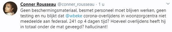 De verwijderde tweet van Rousseau.