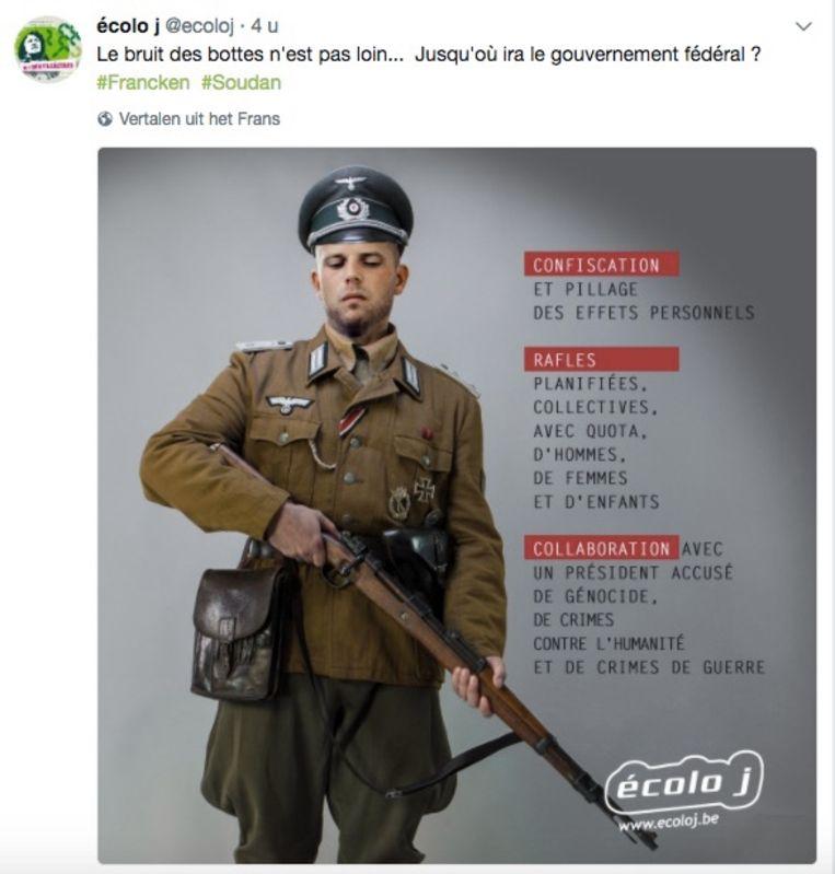 Ecolo-jongeren beelden staatssecretaris voor Asiel en Migratie Theo Francken af als nazi. Beeld rv