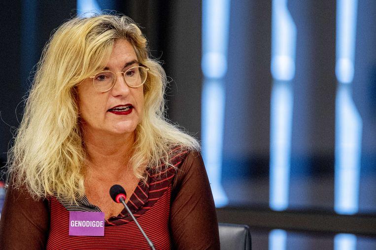 Hoogleraar Marjan Olfers (Sport en recht VU Amsterdam) tijdens een rondetafelgesprek met Kamerleden, begin 2020. Beeld ANP