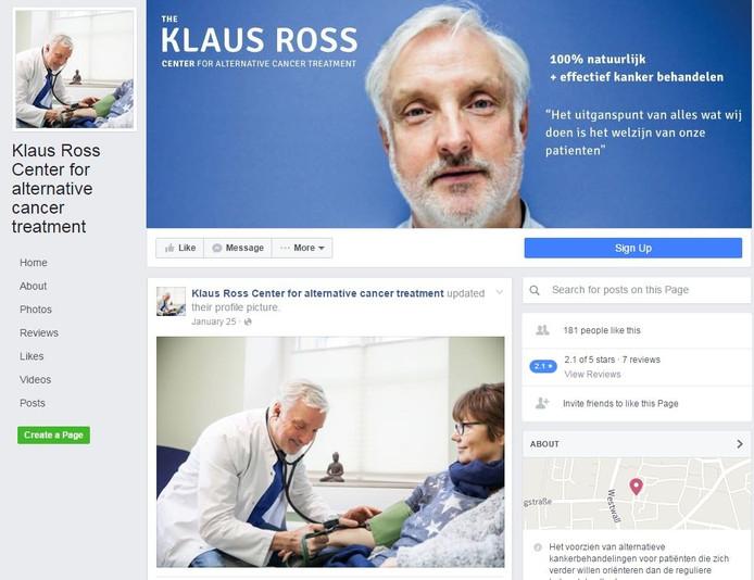 De Facebookpagina van Klaus Ross.