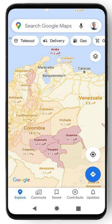 Roodgekleurde gebieden op de kaart duiden op sterke aanwezigheid van coronabesmettingen