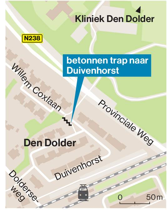 De plek waar het hek moet komen in Den Dolder.