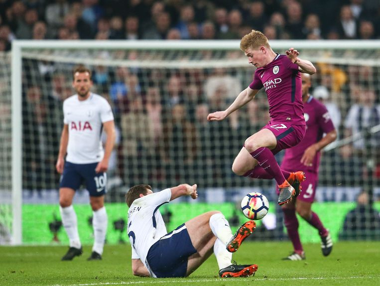 Kevin De Bruyne imponeerde op Wembley. Manchester City moest vier jaar wachten op een nieuwe Engelse titel. Beeld Photo News