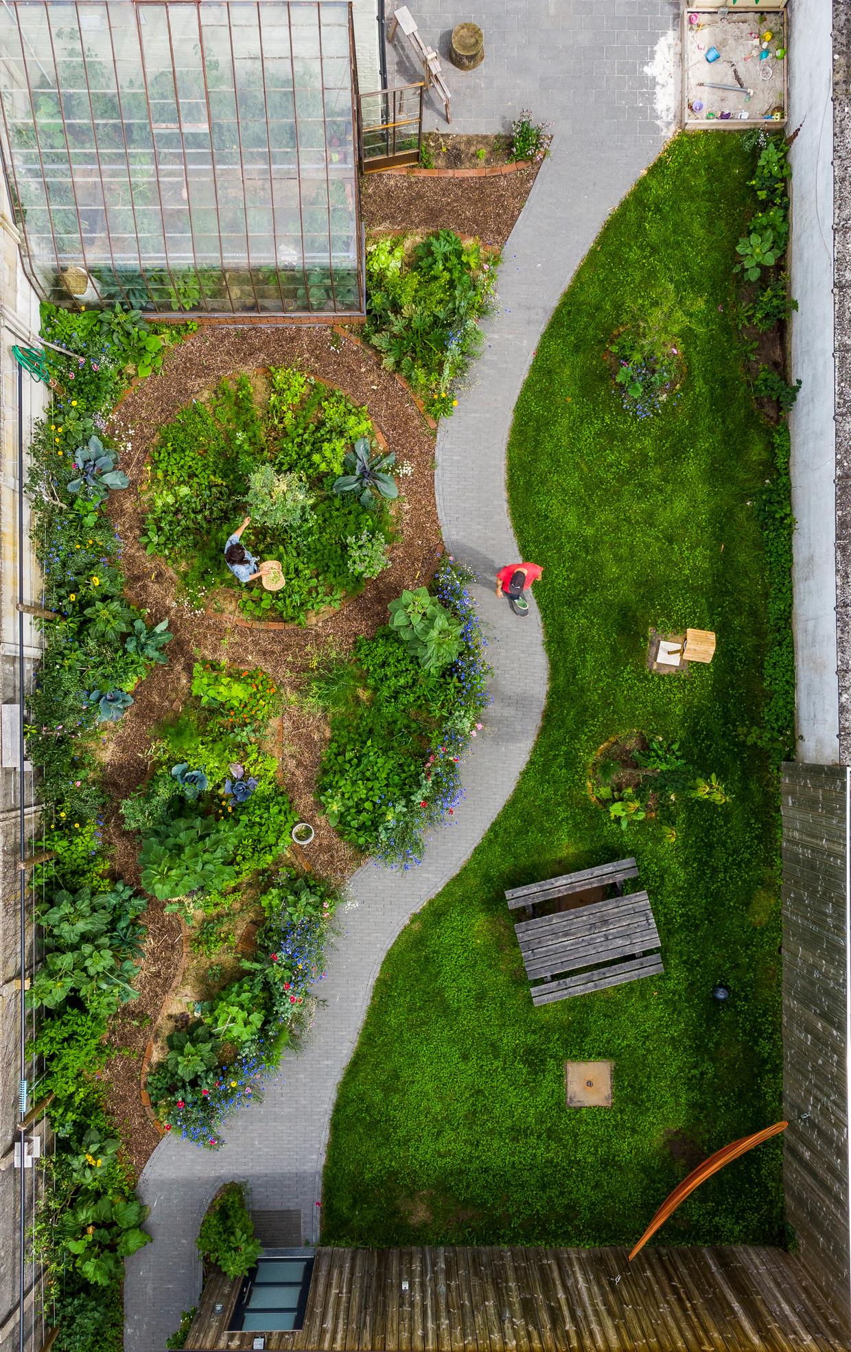 De moestuin, volgens de regels van de permacultuur, werd dit voorjaar aangelegd met de hulp van Hannes vader, die tuinaannemer is.   Beeld Luc Roymans