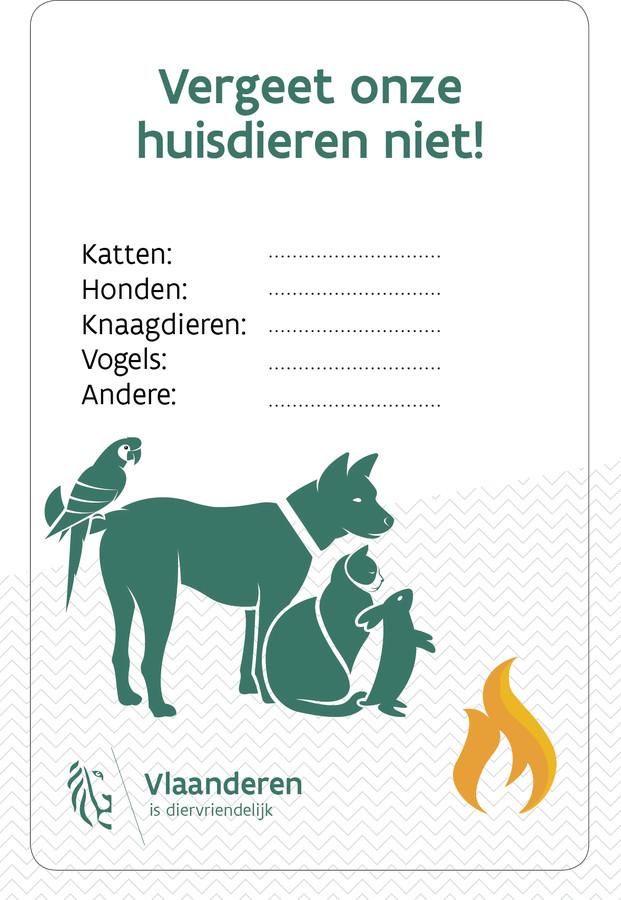 Dierenminister Ben Weyts wil in alle Vlaamse gemeenten een uniforme huisdierensticker voor noodgevallen verspreiden. Zo'n sticker maakt in één oogopslag duidelijk welke dieren zich in een woning bevinden, zodat de hulpdiensten in het geval van een brand ook de huisdieren kunnen redden.