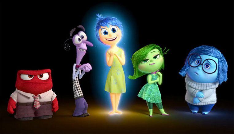 'Woede', 'Angst', 'Vreugde', 'Walging' en 'Verdriet' spelen de hoofdrol. Beeld Pixar