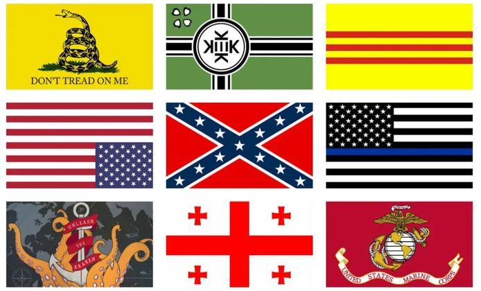 Van links boven naar rechtsonder: de Gadsden-vlag, vlag van Kekistan, vlag van Zuid-Vietnam, confederale vlag, Amerikaanse vlag met dunne blauwe lijn, vlag van de staat Georgia en de Amerikaanse marine.