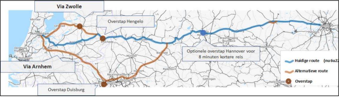 De routes van de internationale intercity Amsterdam-Berlijn die zijn onderzocht.