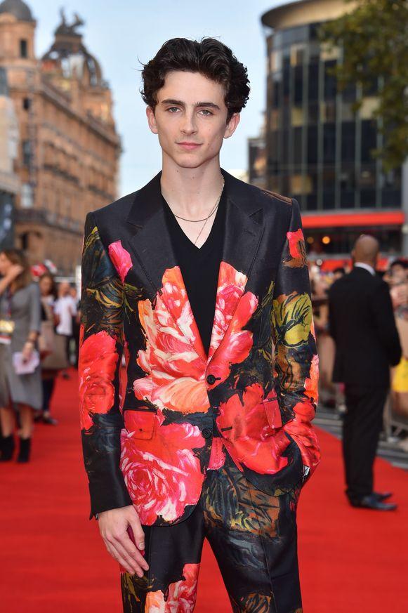 Timothée Chalamet op de rode loper voor de première van Beautiful Boy in Londen.
