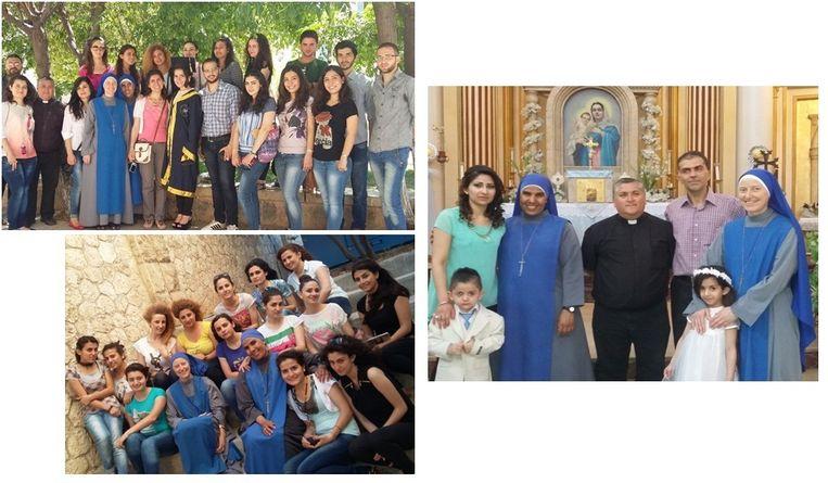 Missie van de Religieuze Familie van het Mensgeworden Woord in Aleppo (linksboven). Twee zusters met enkele universiteitsstudenten (linksonder) en de zusters in een kerk van Aleppo. (rechts). Beeld