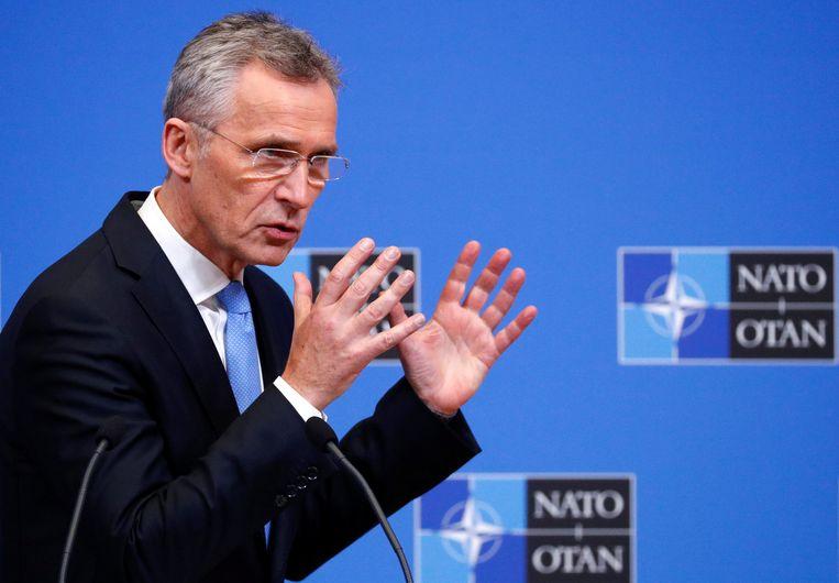"""NAVO-secretaris-generaal Jens Stoltenberg: """"Slechts zeven landen haalden in 2018 de defensienorm van 2 procent bbp."""" Beeld REUTERS"""