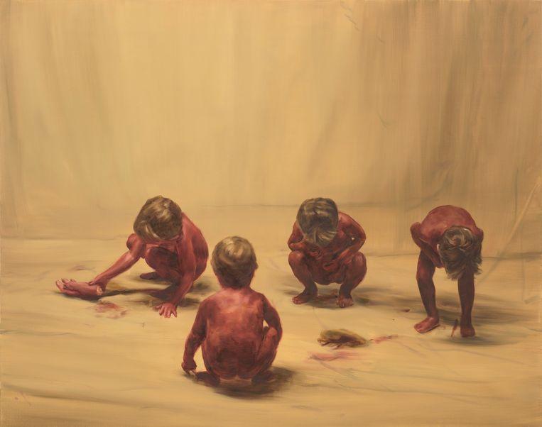 Michael Borremans, Fire From The Sun (Four Figures) Beeld Peter Cox