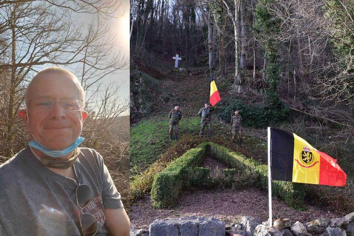 Een selfie die Pascal Mathieu ons in februari doorstuurde vanaf de rotsen in Marche-les-Dames. Daar herstelde hij samen met vrijwilligers het monument voor koning Albert I in ere (rechts).