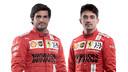 Het Ferrari-duo voor het nieuwe seizoen: Carlos Sainz en Charles Leclerc.