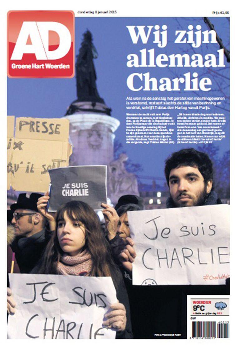 De voorpagina van het AD: 'We zijn allemaal Charlie' Beeld AD