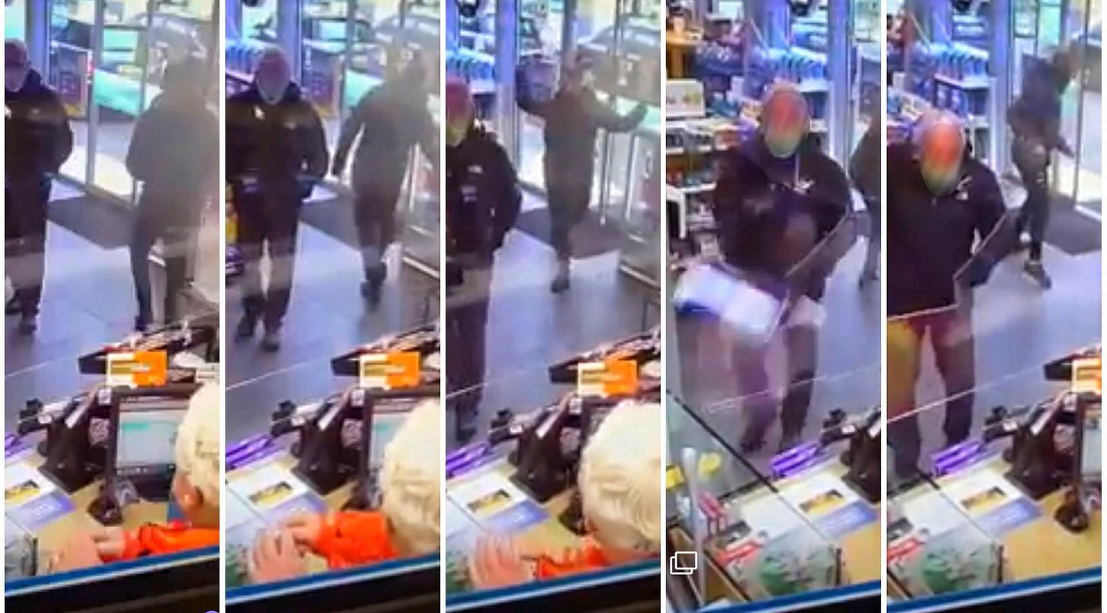 Van links naar rechts: de man loopt weg van de balie, pakt een frisdrankblikje en slingert het vlak langs het hoofd van een klant richting coronascherm bij de kassa.