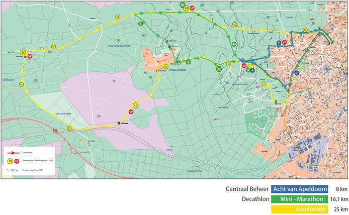 De routes van de Midwintermarathon in Apeldoorn.