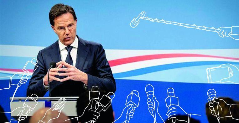 Mark Rutte tijdens persconferentie Beeld ANP