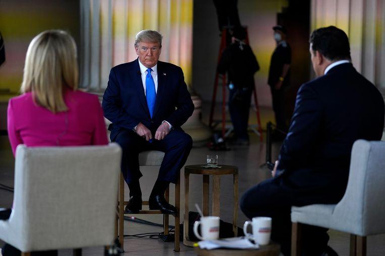 Een gesprek met president Trump in mei van dit jaar op Fox News tegen de achtergrond van het Lincoln Memorial in Washington. Beeld AP