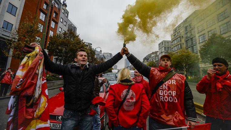 Een beeld van de nationale betoging, op 6 november. Beeld BELGA